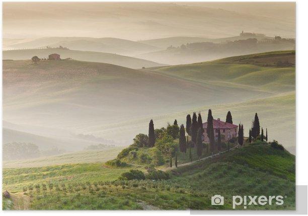Poster Früh am Morgen auf Landschaft, San Quirico d'Orcia, Toskana, Ital - Themen