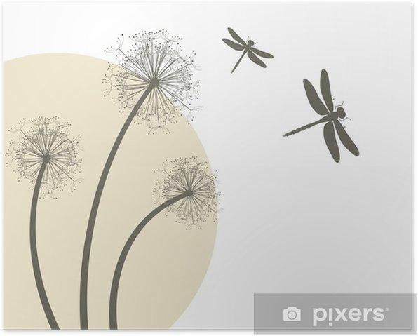 Poster Frühling Vektor - Löwenzahn und Libellen - Leben
