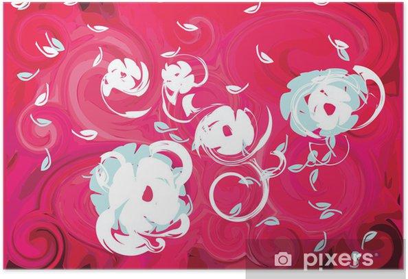 Poster Fuchsia Wind Frühling Blumen rosa Hintergrund Blatt - Blumen