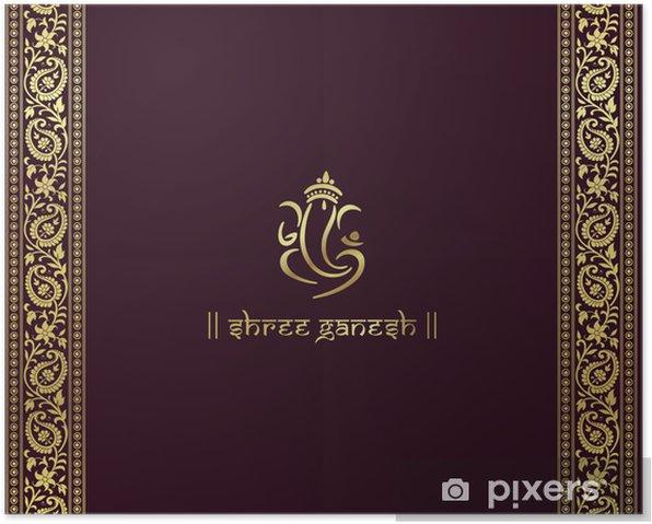 Poster Ganesha, Hindu wedding card, royal Rajasthan, Indien - Feste