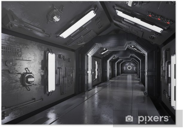 Poster Gang innen durch ein dunkles raumschiff - Scienze