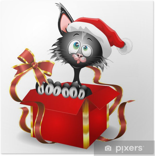 Poster gatto di cartone animato su regalo di natale gatto buffo