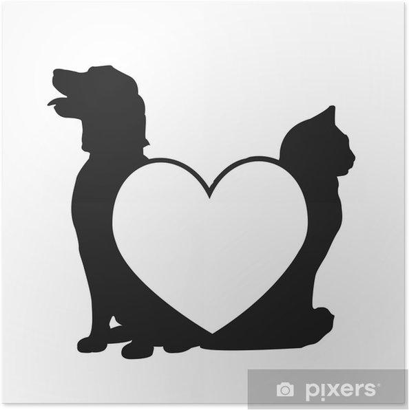 Poster Gatto E Amore Logo Del Cane