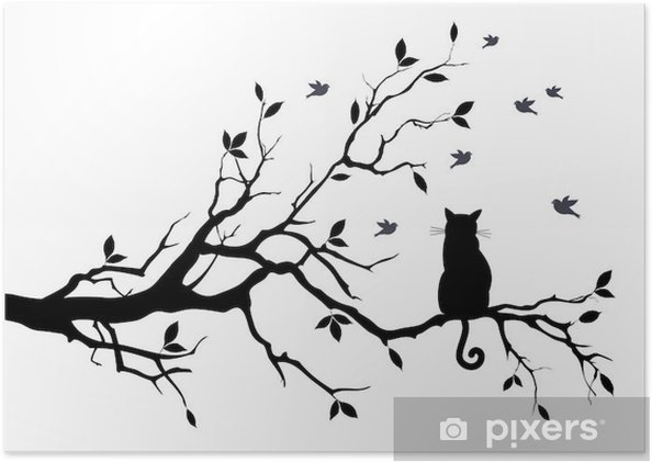 Poster Gatto su un albero con gli uccelli, vettore - Scienza e Natura