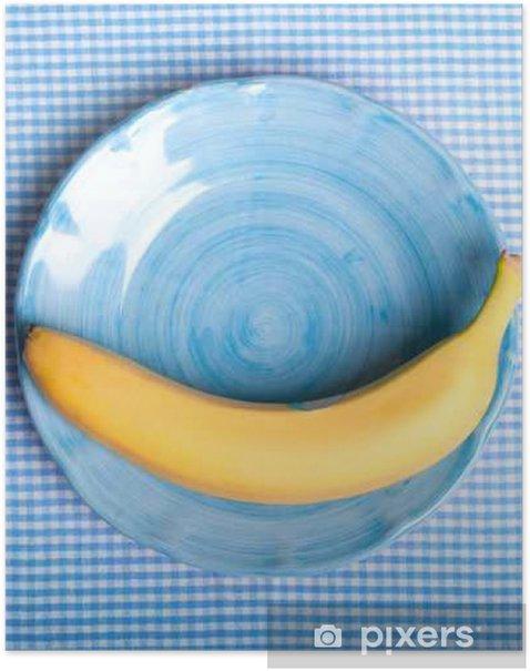 Poster Gelbe Banane auf blauen Teller - Temi