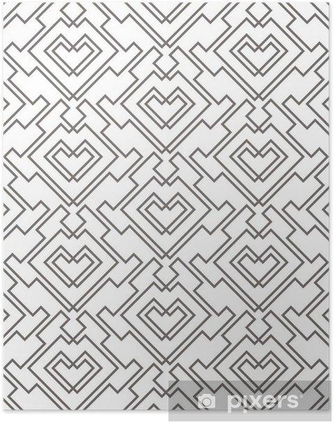 Poster Geometrisches abstraktes nahtloses Muster. linearer Motivhintergrund - Grafische Elemente