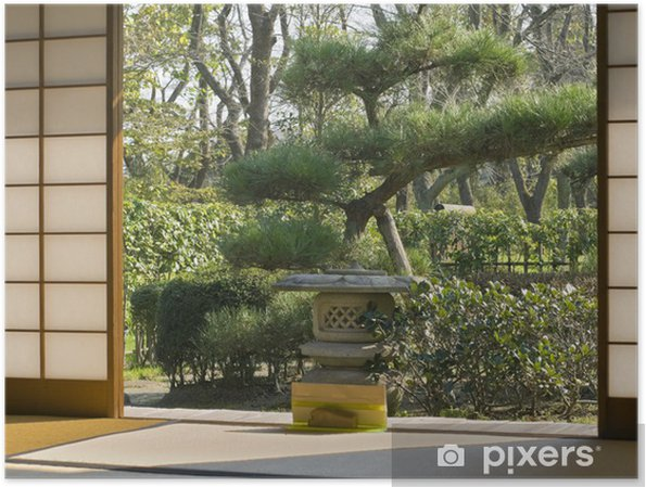 Poster Giardino Giapponese Attraverso Una Parete Scorrevole Di Una