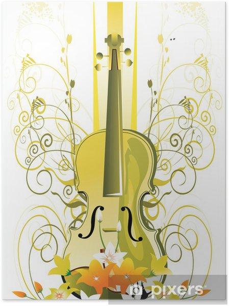 Poster Gitarre mit in den Blumenmustern - Themen