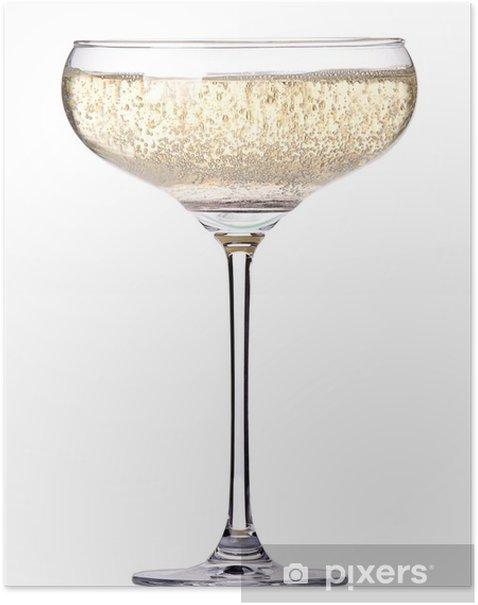 Poster Glas Champagner isoliert - Alkohol