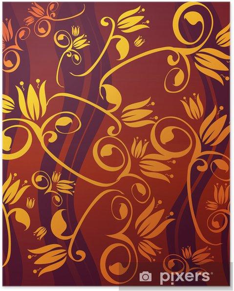 Poster Goldenen Blumen - Zeichen und Symbole