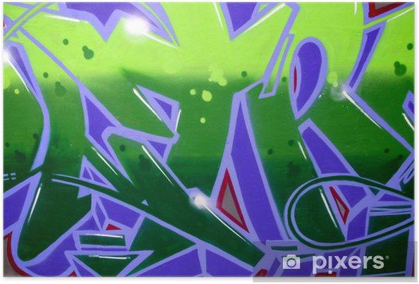 Poster Graffiti Verde E Viola