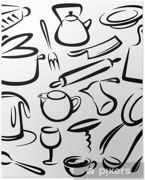 Poster Grande set di utensili da cucina, disegno vettoriale • Pixers ...