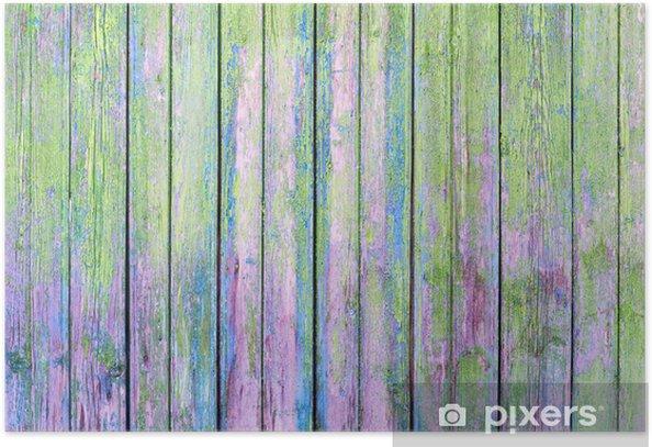 Poster Grüne alte bemalte Holzuntergrund - Texturen
