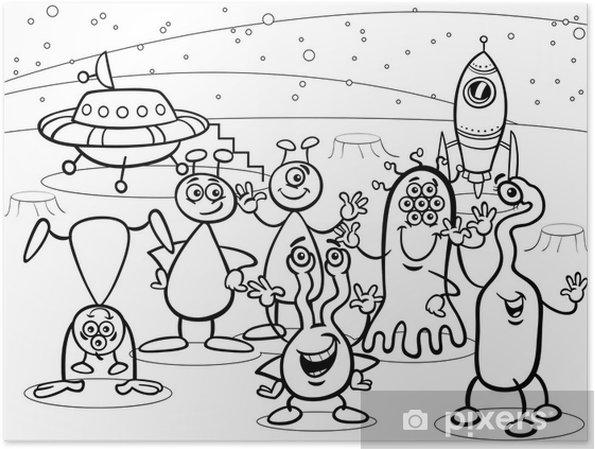 Poster Gruppo Di Alieni Ufo Del Fumetto Libro Da Colorare Pixers