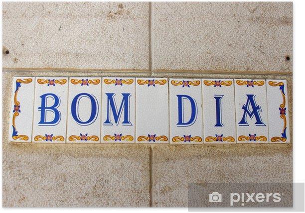Poster Gruß Fliesen an der Wand eines Hauses in Lissabon, Portugal - Europäische Städte