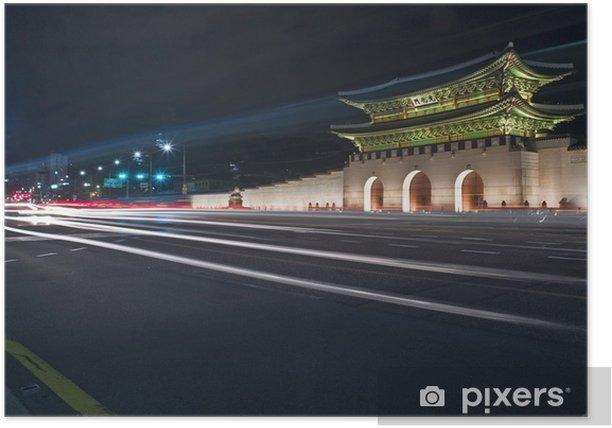 Poster Gyeongbokgung Toren in der Nacht - Themen