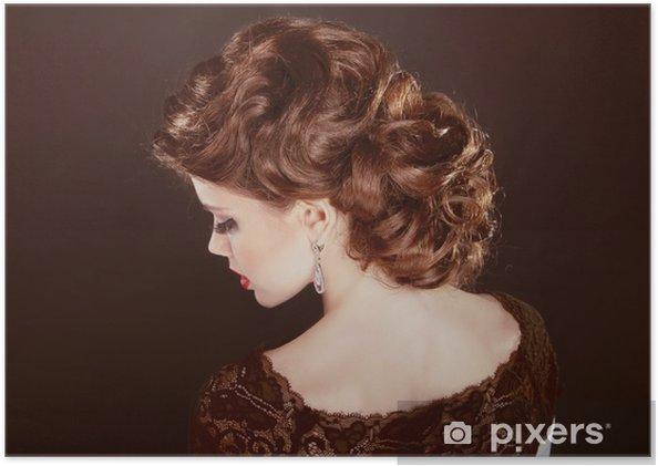 Poster Haar Wellige Frisur Schönes Mädchen Mit Braunen Locken