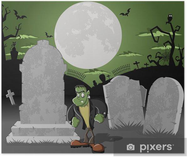 Poster halloween cimitero con tombe e divertente cartone animato