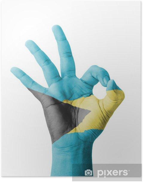 Poster Hand, die OK-Zeichen, gemalt Bahamas flag - Körperteile