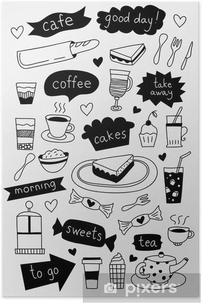 Poster Hand Gezeichnet Kaffee Icons Mit Kaffee Tee Kuchen