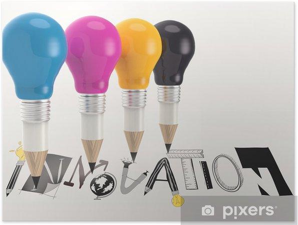 Poster Hand Gezeichnete Grafik Wort Innovation Und 3d Bleistift Glühbirne Als C