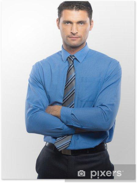 design senza tempo 47c1e 4df08 Poster Handsome giovane uomo in camicia blu e cravatta