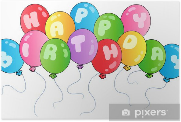 Poster Happy Birthday Balloons