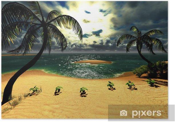 Poster Hawaiian Sonnenuntergang im tropischen Paradies - Natur und Wildnis
