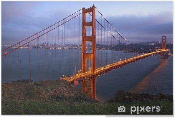 Poster Headlands Golden Gate Bridge Abend mit Lichtern San Francisco C - Amerikanische Städte