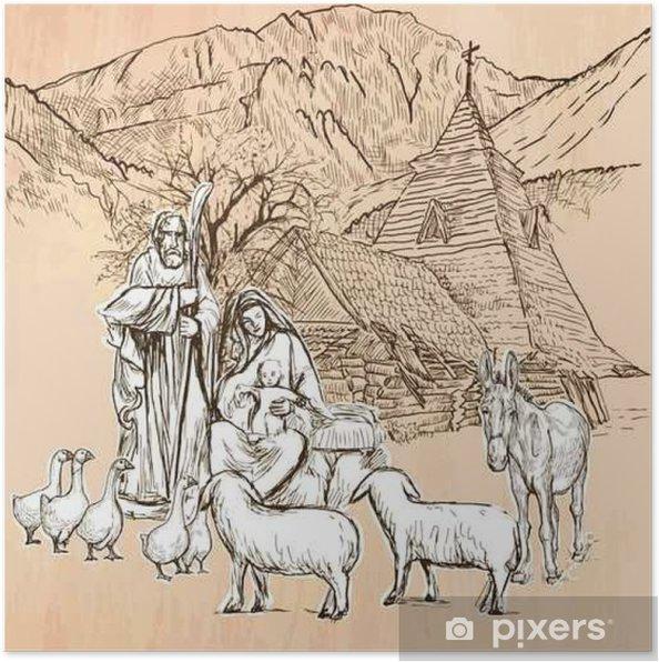 Poster Heilige Familie - Eine Hand, die Vektor. Line art. - Religion und Kultur