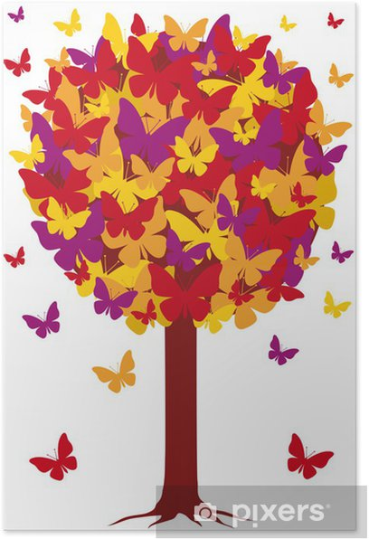 Poster Herbst Baum mit Schmetterling Blätter, Vektor- - Jahreszeiten