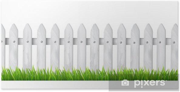 Poster Hintergrund mit einem weißen Holzzaun mit Gras. Vektor. - Haus und Garten