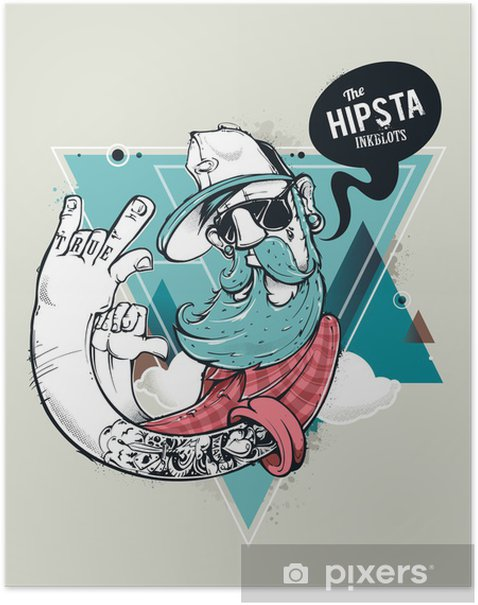 Poster Hipster carattere graffiti - Baffi