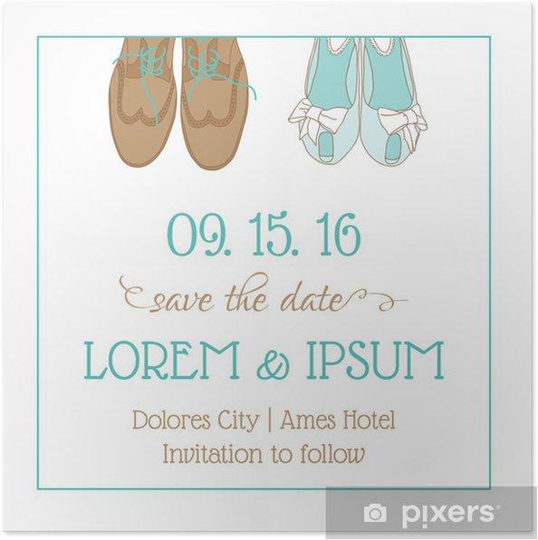 Poster Hochzeits Einladungs Karte Mit Hochzeitsschuhe Retten Sie