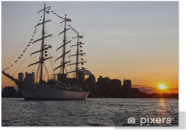 Poster Hohes Schiff während Segel Boston 2009 im Hafen von Boston - Boote