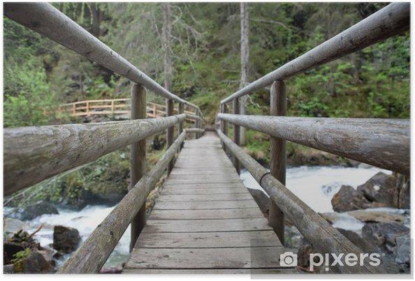 Poster Holzbrücke im Wald - Straßenverkehr
