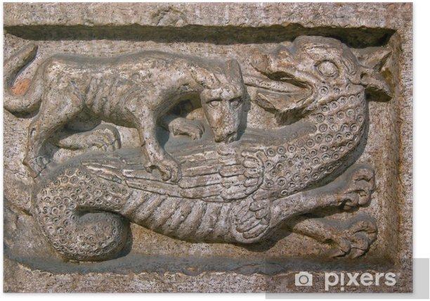 Poster Hund beißt einen Dragon - Kathedrale von Trento Italien - Europa