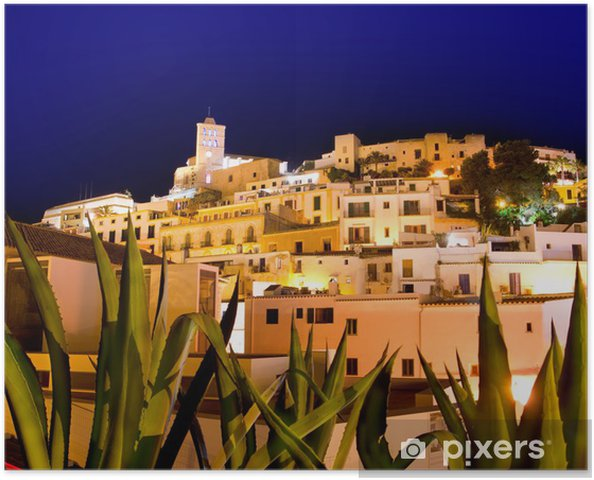 Poster Ibiza Dalt Vila downtown in night lights - Urlaub