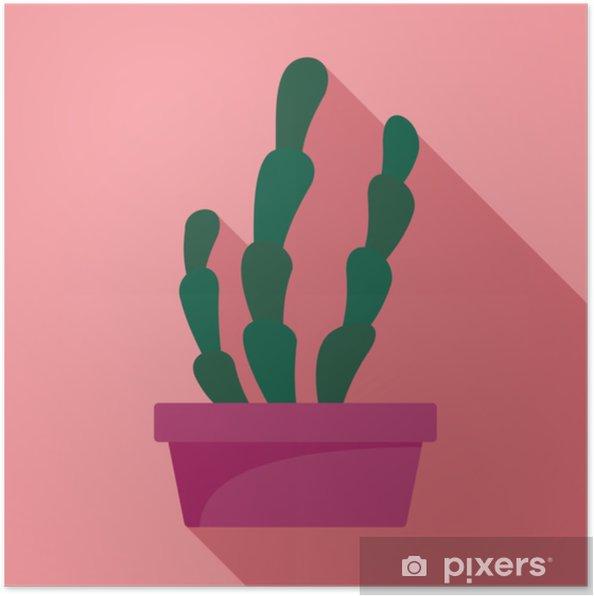 Poster Icona di pentola di cactus. illustrazione piatta di icona di vettore pentola di cactus succulento per il web design - Piante & Fiori