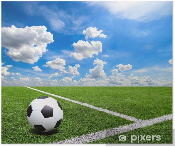 Poster Il Calcio E Campo Di Calcio In Erba Stadio Cielo Blu Di Sfondo