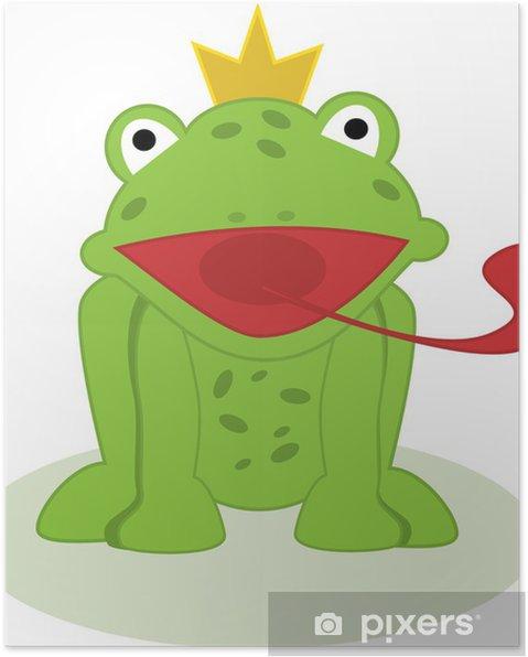 Poster illustrazione del principe ranocchio con la lingua fuori