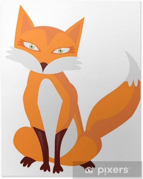 Poster illustrazione di cartone animato molto carino volpe u2022 pixers