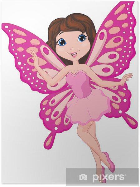 Poster illustrazione di cute fata cartone animato u2022 pixers