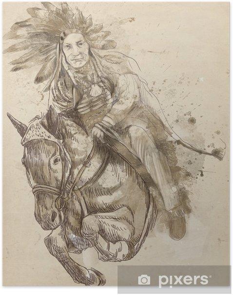 Poster Indian Chief Reiten und über eine Hürde springen - Sonstige Gefühle