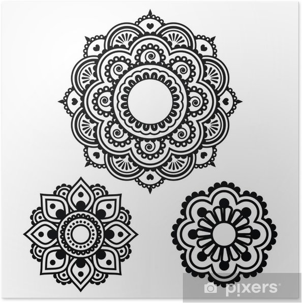 poster indian henna tattoo rundes design mehndi muster. Black Bedroom Furniture Sets. Home Design Ideas