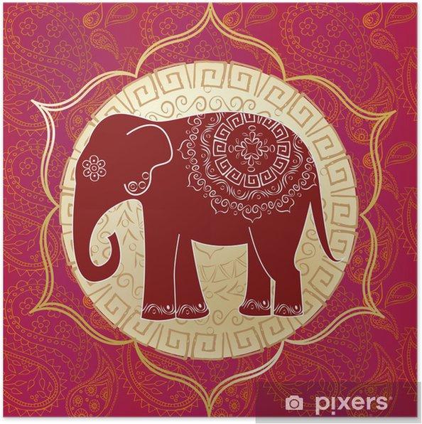 Poster Indische Elefanten mit Mandalas - Stile