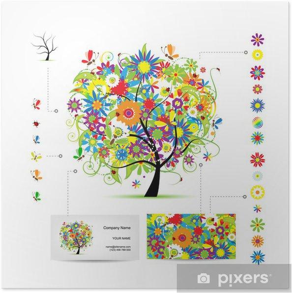 Poster Infografik Baum Mit Lustigen Vögel Visitenkarte Vorlage