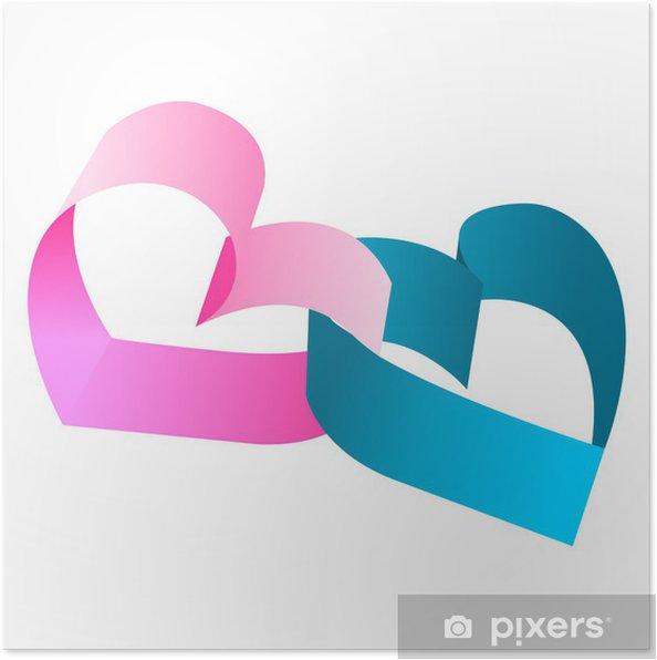 Poster Intrecciate Cuori Blu E Rosa Su Sfondo Bianco Pixers