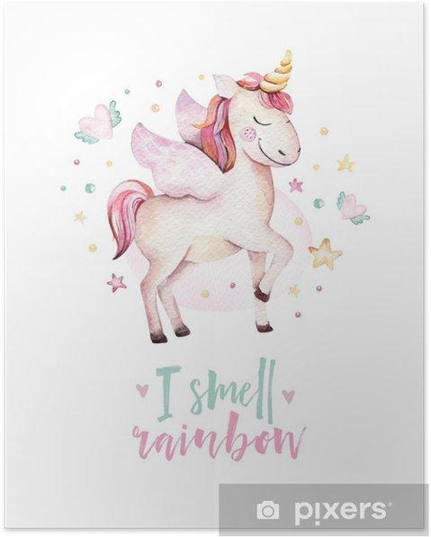 Poster Isolato Carino Acquerello Unicorno Bambini Poster