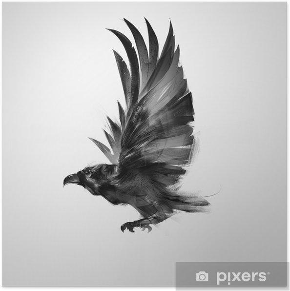 Poster Isoliert grafisch fliegenden Vogel schwarze Krähe - Tiere